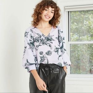 NWT A New Day floral print blouse size L